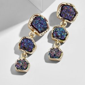 Moonrock Druzy Drop Rainbow earrings Baublebar